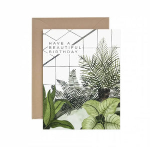 PLANT CONSERVATORY BIRTHDAY GREETING CARD WITH HAND PAINTED ILLUSTRATION