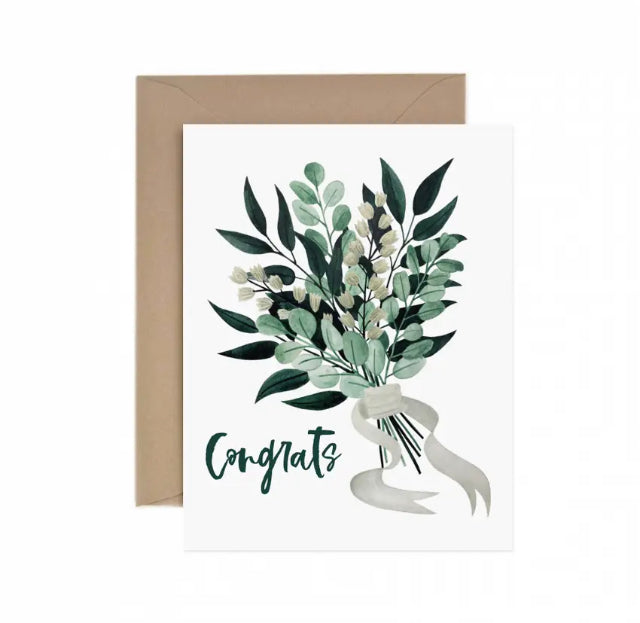 HAND ILLUSTRATED WEDDING BOUQUET GREETING CARD WITH WHITE BACKGROUND