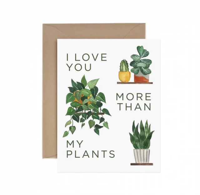 ILLUSTRATED PLANTS ON AN I LOVE YOU GREETING CARD