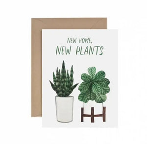 GREETING CARD WITH ILLUSTRATED POTTED PLANTS FOR HOUSEWARMING