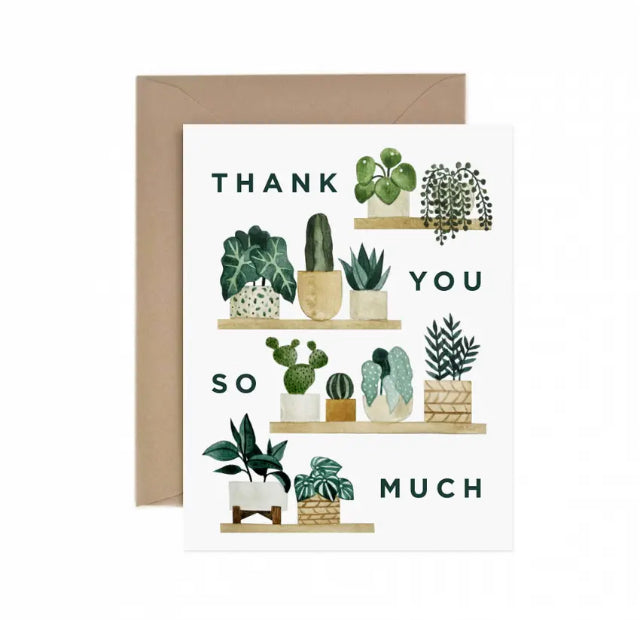 THANK YOU GREETING CARD WITH HAND ILLUSTRATED PLANTS ON SHELVES
