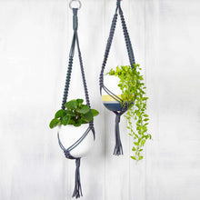 two Common House Studio hand painted planters in grey nylon plant hangers with trailing plants