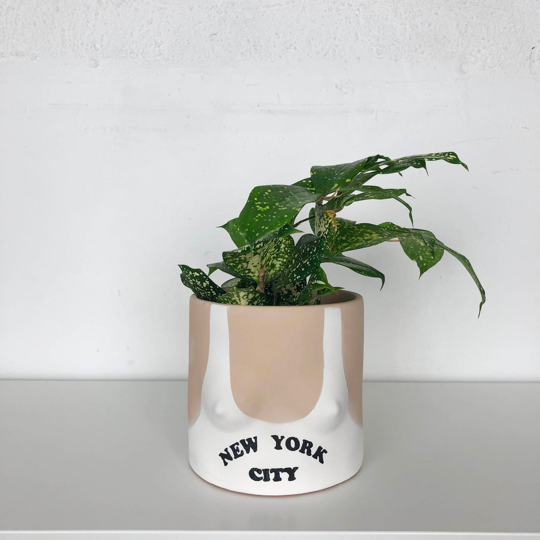 group partner boob planter pot with New York city tank top and light skin tone