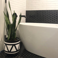 black aztec planter pot in bathroom