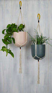cotton twine plant hangers with hand painted Common House Studio planters