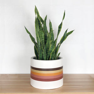 70's retro striped hand painted planter pot