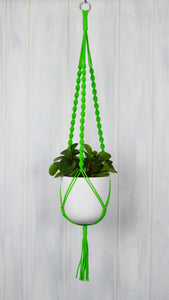 Neon green plant hanger with a White Essential hand painted planter