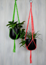 Two neon coloured plant hangers with black hand painted planters