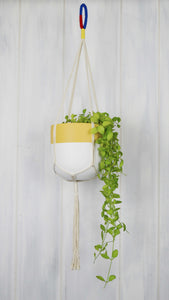 tone toned yellow and white planter pot hanging from a cream cotton plant hanger with a primary coloured hook