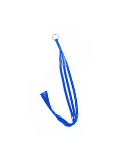 carrie label royal blue plant hanger on white backdrop