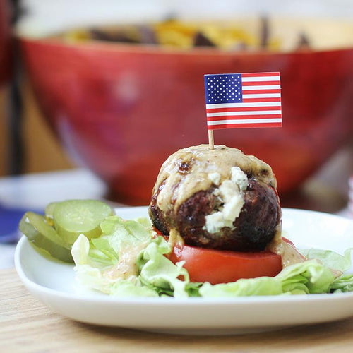 Red, White and Blue Burgers with Manuka Honey Mustard