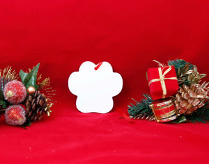 Unisub White Aluminum Paw Print Ornament - Lucky Dog Custom Creations