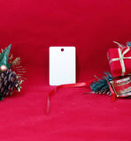 "2"" x 3"" Gloss White UniSub Aluminum Vertical Rectangle Ornament - Lucky Dog Custom Creations"