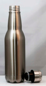 16oz Stainless Silver Beer Bottle Shaped Beverage Container - Lucky Dog Custom Creations