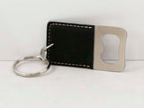 Rectangle Laserable Leatherette Bottle Opener Keychain - Lucky Dog Custom Creations