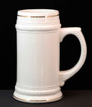 18oz White Sublimatable Ceramic Beer Stein - Lucky Dog Custom Creations