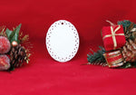 "White Sublimatable Oval Doily Ceramic Ornament 3 3/4"" x 3"" - Lucky Dog Custom Creations"