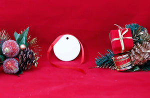 "2 1/2"" White Sublimatable Round Ceramic Ornament - Lucky Dog Custom Creations"