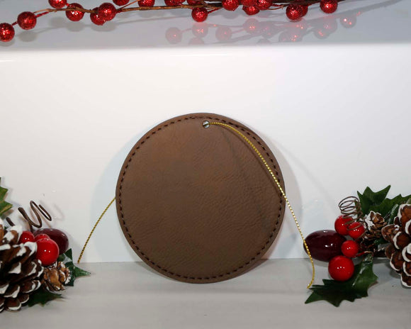 Laserable Leatherette Round Ornament with Gold String - Lucky Dog Custom Creations