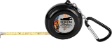 6-Foot Black Pocket Tape Measure with Carabiner & 1