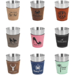 Laserable Leatherette and Stainless Steel Shot Glass - Lucky Dog Custom Creations