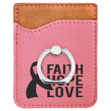 Laserable Leatherette Phone Wallet with Elegant Silver Ring - Lucky Dog Custom Creations