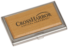 Silver/Wood Business Card Holder - Lucky Dog Custom Creations
