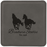 "4"" x 4"" Square Laserable Leatherette Coaster - Lucky Dog Custom Creations"