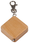"1 3/4"" x 1 3/4"" Wooden Square 3-Foot Tape Measure with Keychain - Lucky Dog Custom Creations"
