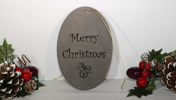 Laserable Leatherette Oval Ornament with Gold String - Lucky Dog Custom Creations