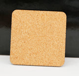 "Square Coaster with Cork Back, 3.75"" x 3.75"" Gloss White Hardboard - Lucky Dog Custom Creations"