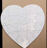 "7 1/2"" X 7 1/2"" Heart Cardboard Jigsaw Puzzle (20 Pieces) - Lucky Dog Custom Creations"