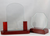 Glass and Wood Curve Top Award - Lucky Dog Custom Creations