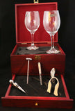 Wine Set with 2 Glasses Rosewood Box, Sublimatable - Lucky Dog Custom Creations