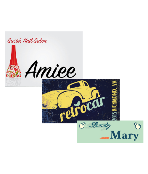 Unisub Gloss White Aluminum Name Badges - Lucky Dog Custom Creations