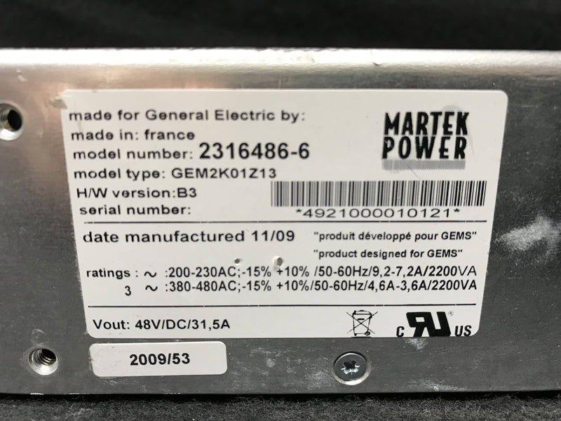 Power Supply 48VDC (2316486-6/GEM2K01Z13) GE