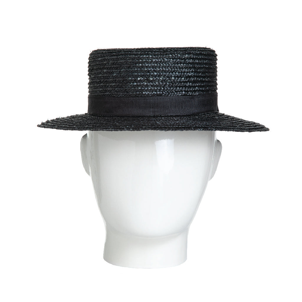 Black Straw Boater