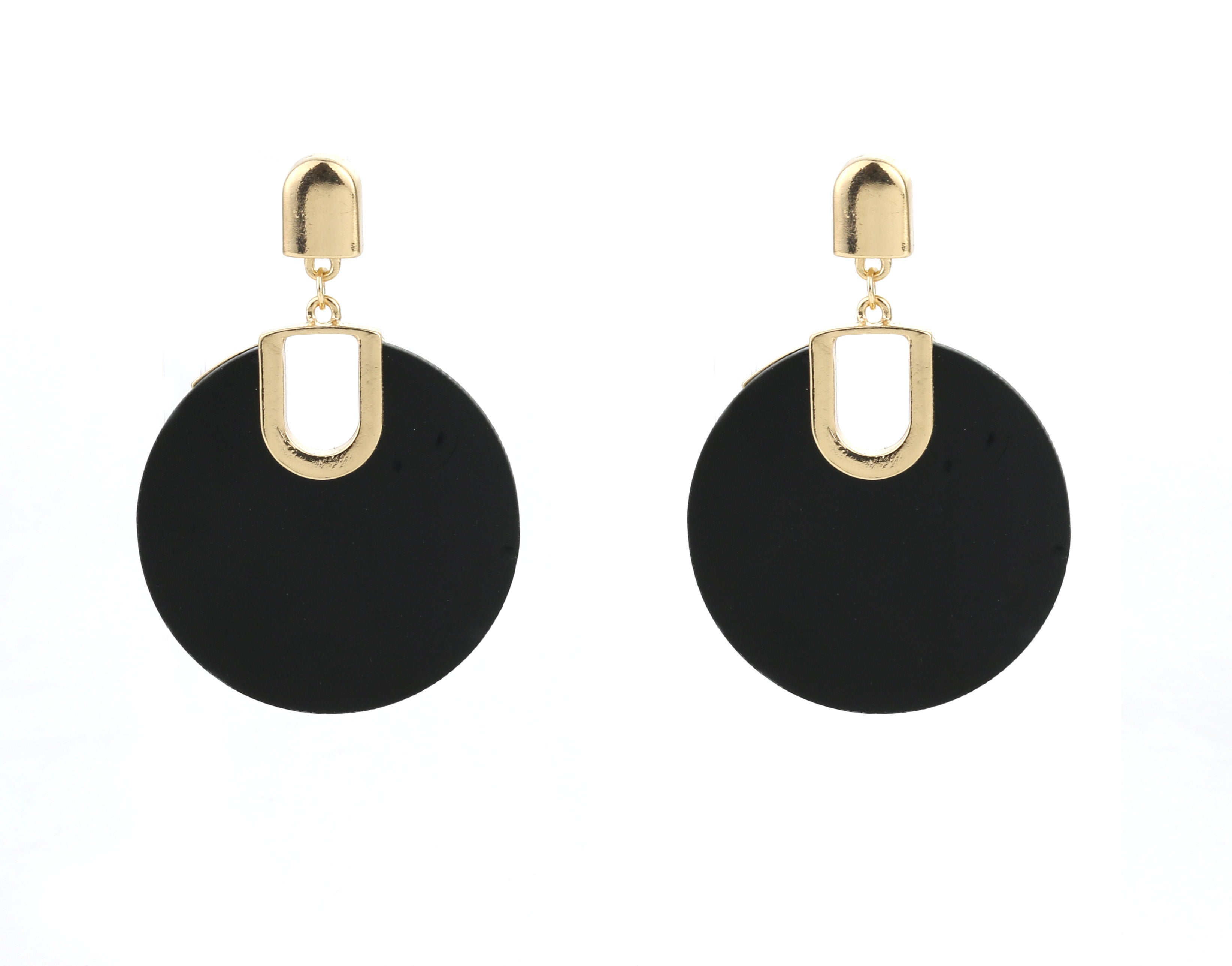 black, disc, gold, statement, earrings, trendy, fun, stylish, influencer, chic, minimal