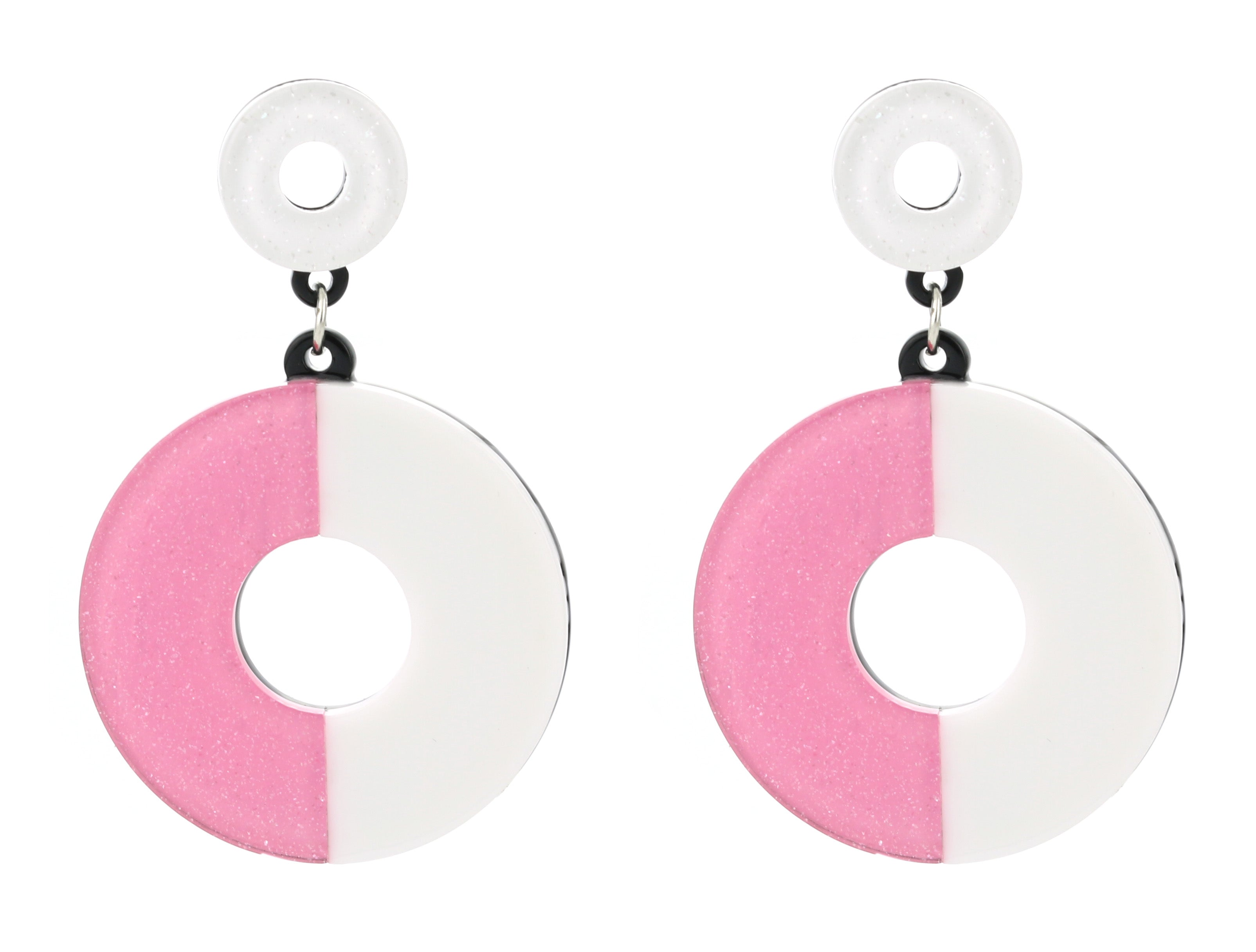 bright, colorful, white, pink, glitter, acrylic, fun, retro, funky, pop, color, earrings