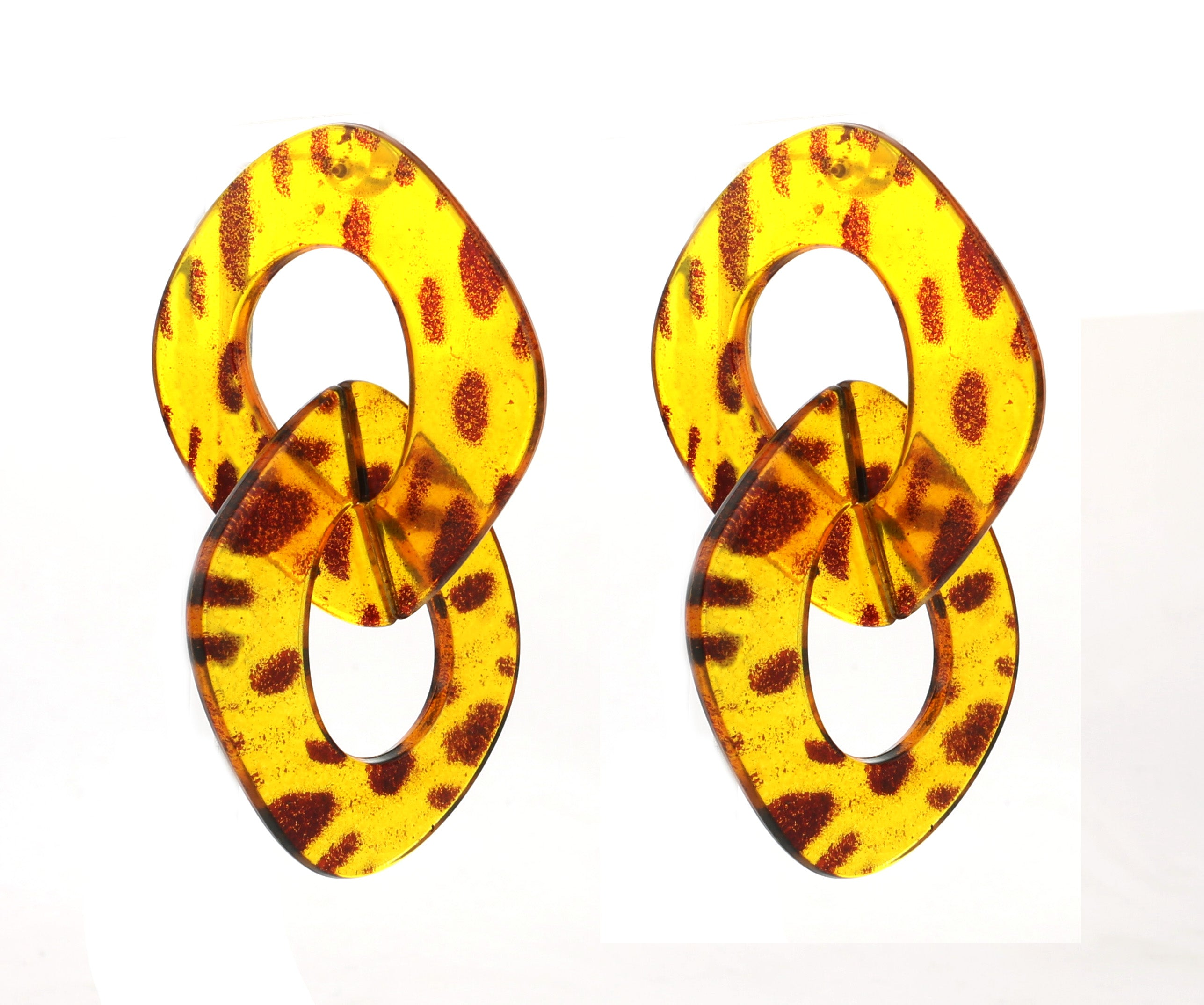 cheetah, leopard, animal, acrylic, funky, thick, interlock, loops, statement, art, deco, marble, earrings, oversized, influencer, trendy, chic