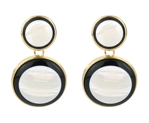 Earrings, black, gold, oyster, marble, statement jewelry, fashion, style, trend, trendy, stylish, fancy, saint Lola