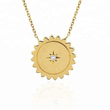 dainty, necklace, sun, sunshine, bright, gold, fancy, influencer, stylish, cute, crystal, star, loop, trim