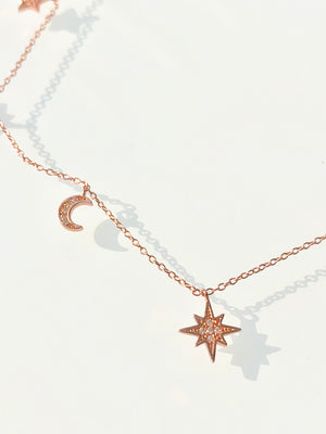 rose gold, moon, stars, crystal, shiny, bright, color, choker, necklace, dainty, charms