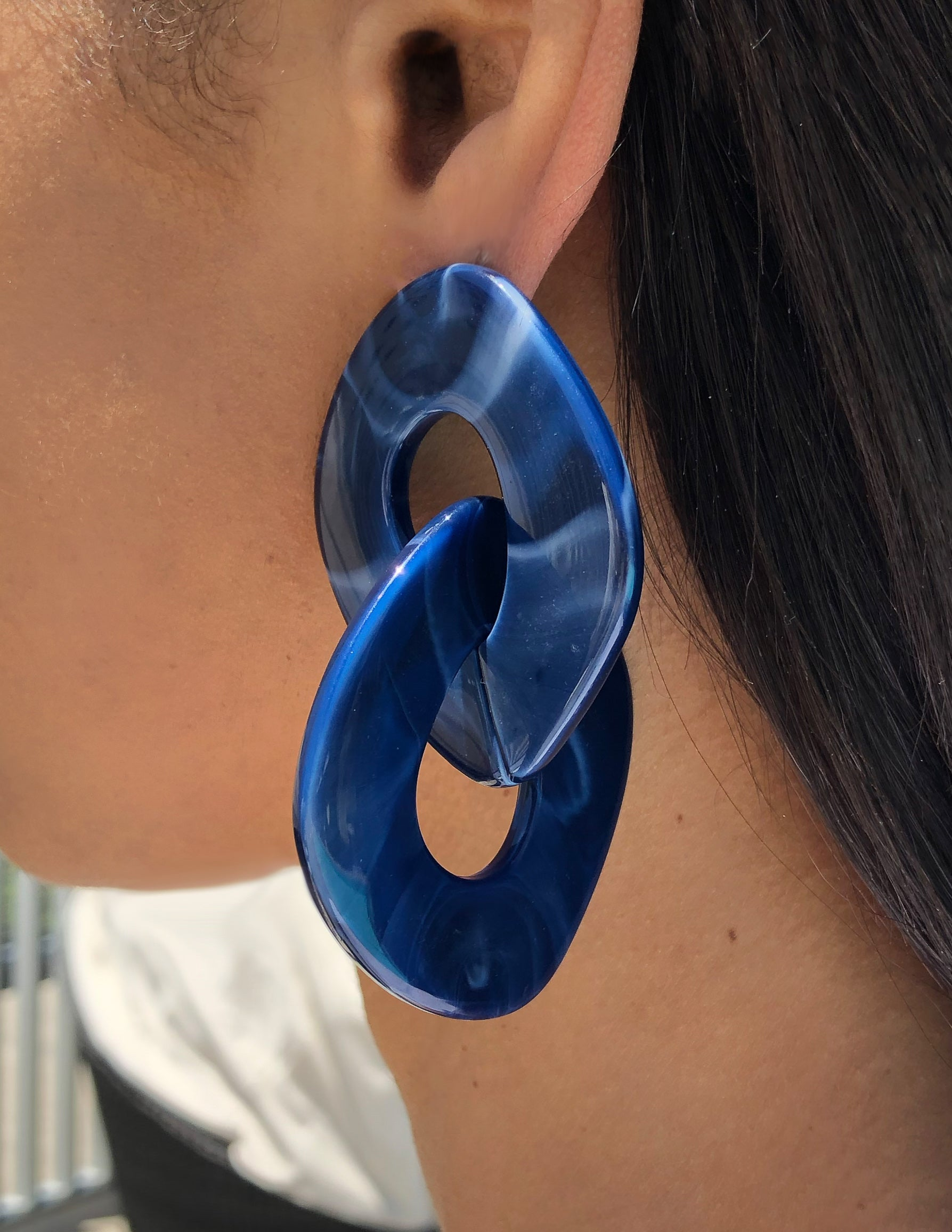 navy, acrylic, funky, thick, interlock, loops, statement, art, deco, marble, earrings, oversized, influencer, trendy, chic