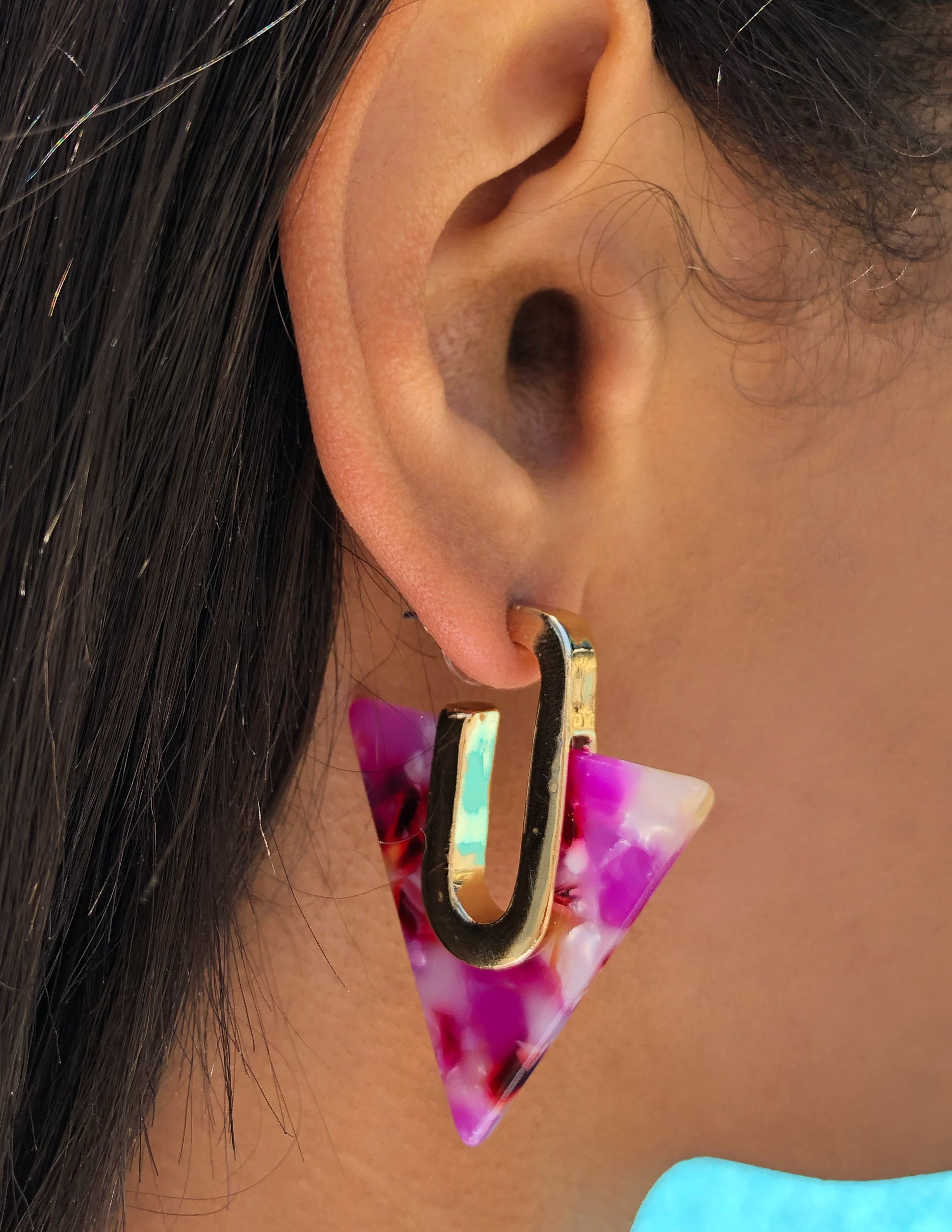 art, deco, acrylic, gold, pink, marble, trendy, statement, hoops, earrings, fun, colorful