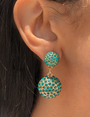 Earrings, emerald, green, gold, fancy, statement jewelry, fashion, style, trend, trendy, stylish, fancy, saint Lola