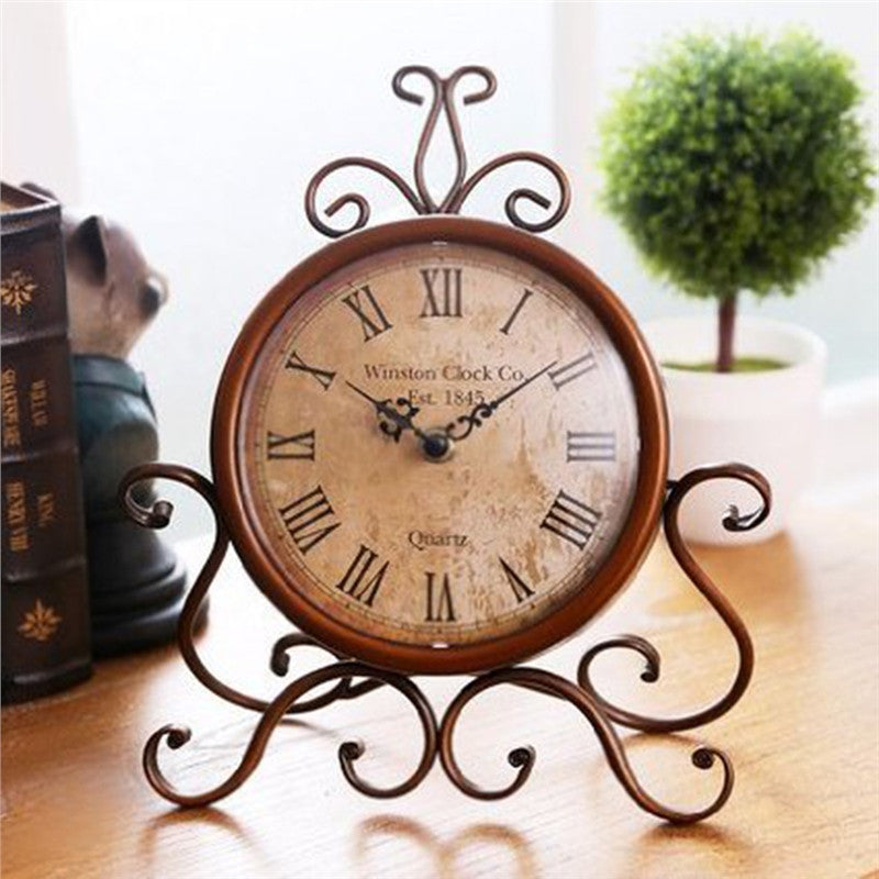 European Style Retro Antique Vintage Wrought Iron Craft Table Clock