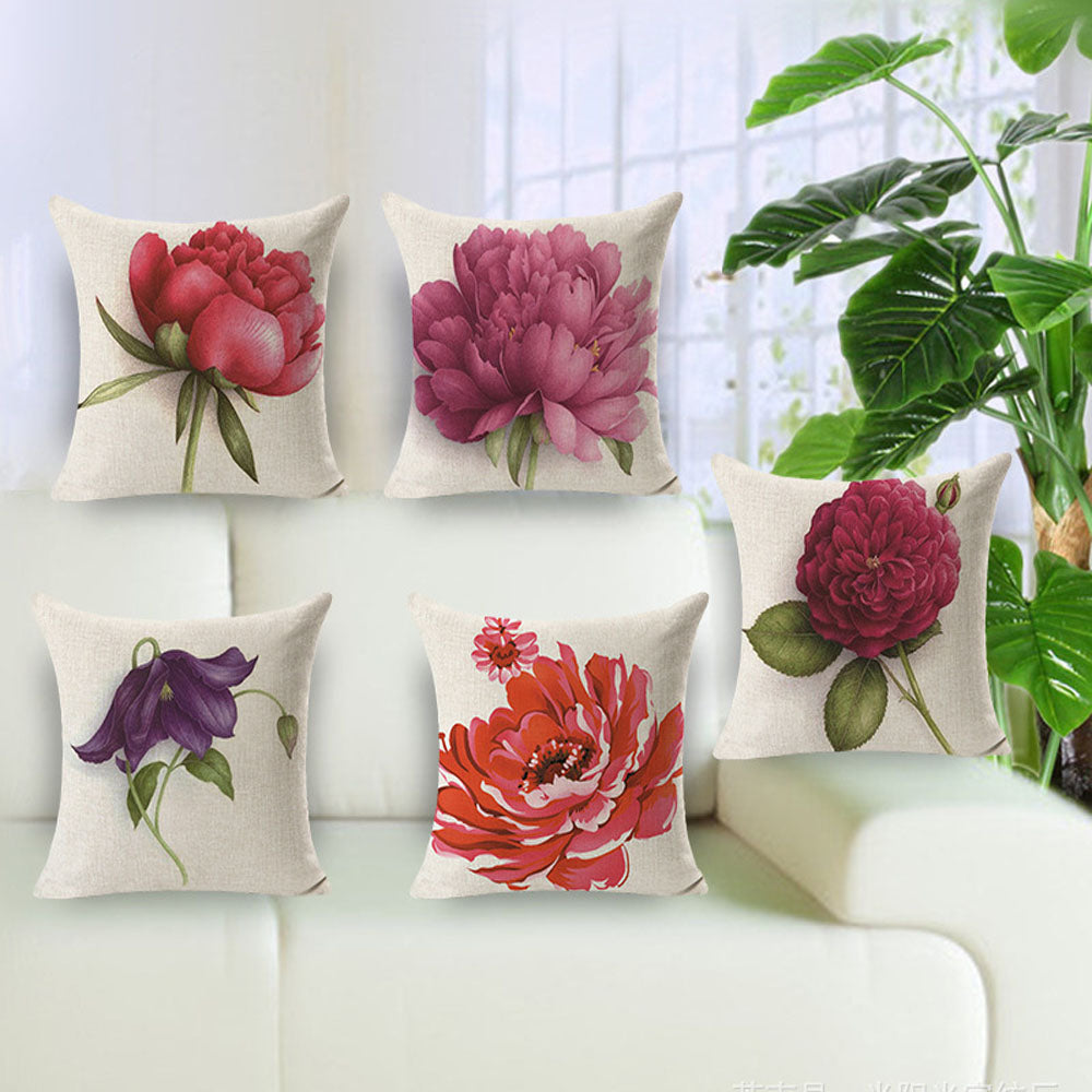 Euro Style Vintage Flowers Decorative Pillow Cover