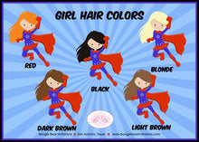 Load image into Gallery viewer, Super Girl Party Cupcake Toppers Party Birthday Superhero Star 1st 3rd 4th 5th 6th 7th 8th 9th 10th Black Boogie Bear Invitations Lois Theme