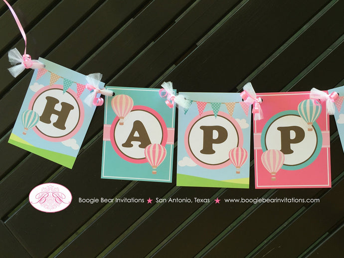 Hot Air Balloon Happy Birthday Banner Party Girl Pink Teal Aqua Turquoise 1st 2nd 3rd 4th 5th 6th 7th Boogie Bear Invitations Margaret Theme